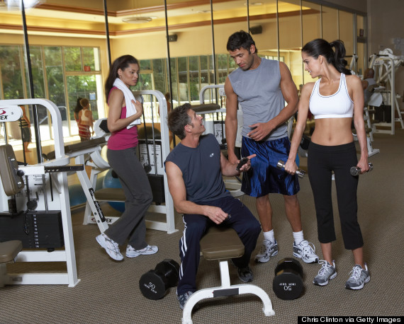 talking at the gym