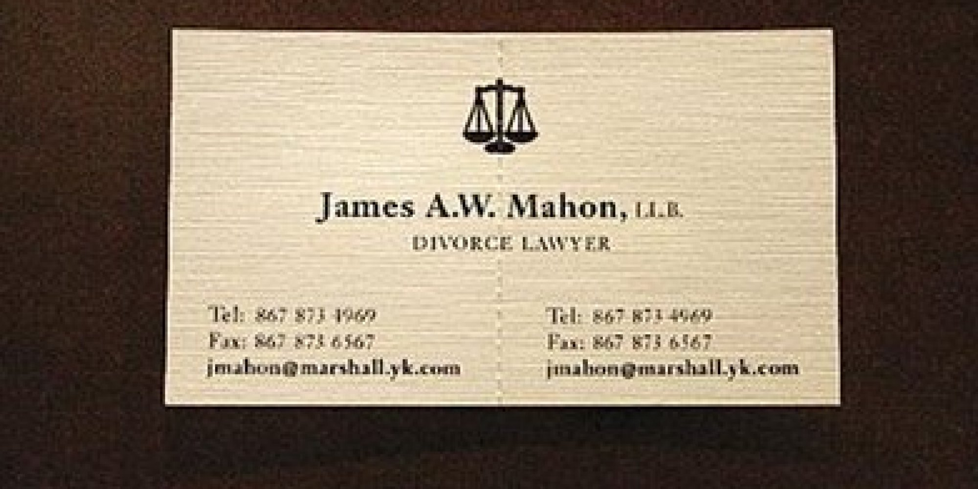 Divorce Attorney s Business Card Is Not What It Seems
