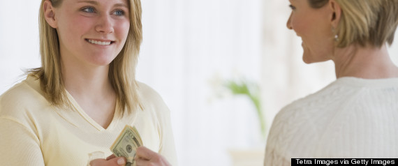 teenager taking currency