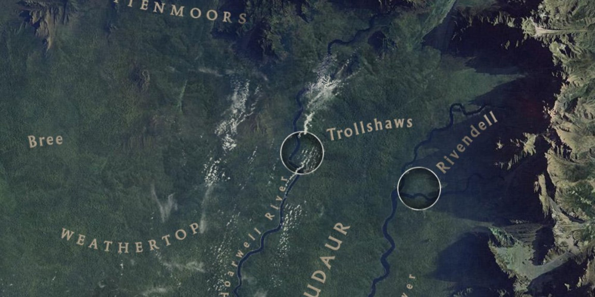 Google maps earth satellite - Google Maps Adds Dragons Eye Views Of Tolkien S Middle Earth The Huffington Post