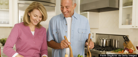cooking mature couple