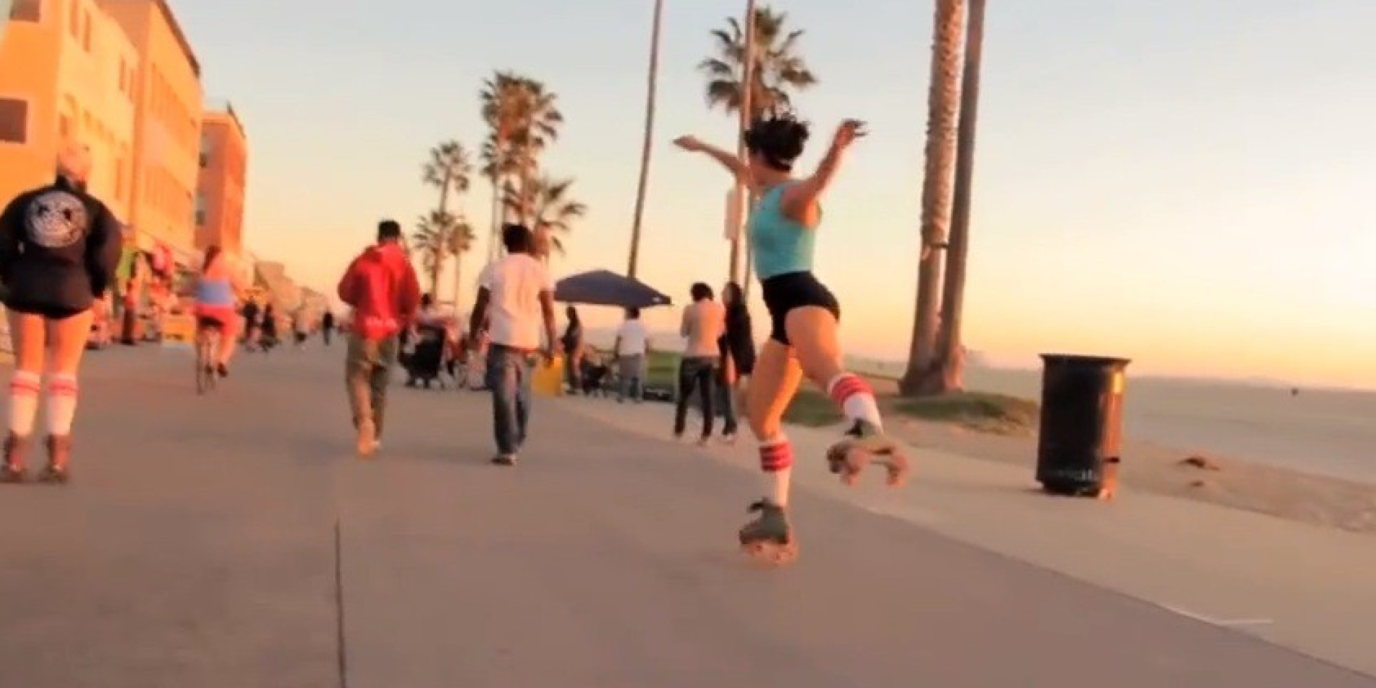 Roller skating los angeles - Michelle Steilen Treats Los Angeles Like Her Own Personal Roller Rink Video Huffpost
