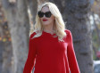 Gwen Stefani Dresses Her Baby Bump In A Bright Red Dress, Black Tights For Thanksgiving Dinner