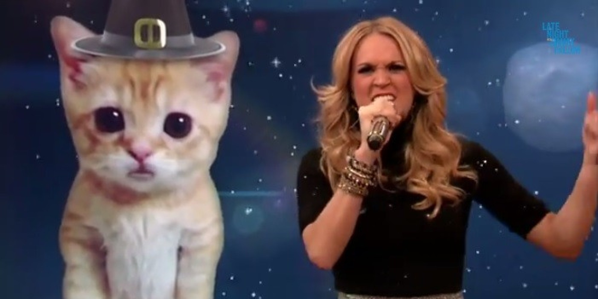 Carrie underwood parodies miley cyrus 39 ama performance on for Jimmy fallon miley cyrus islands in the stream