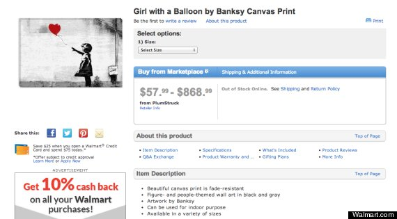 walmart.com sells counterfeit prints of banksy's 'destroy capitalism ...