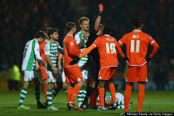 blackpool red cards