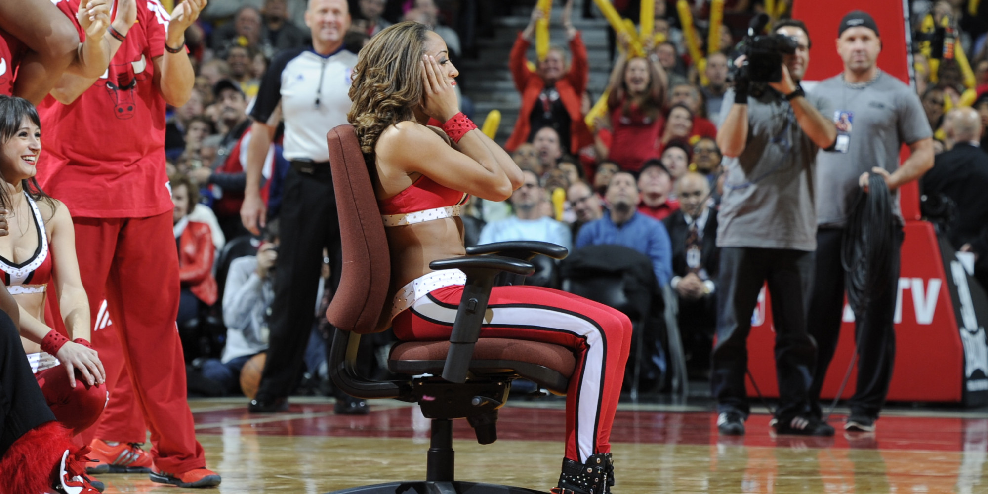 LOOK: Bulls Cheerleader Gets The Surprise Of A Lifetime During Heat Game