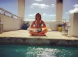 Lindsay Lohan Does Yoga By The Pool