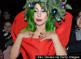 Gaga Gets In The Festive Spirit. Literally