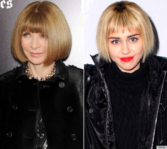 Tremendous Miley Cyrus39 New Hair Inspired By Anna Wintour Photos The Short Hairstyles For Black Women Fulllsitofus