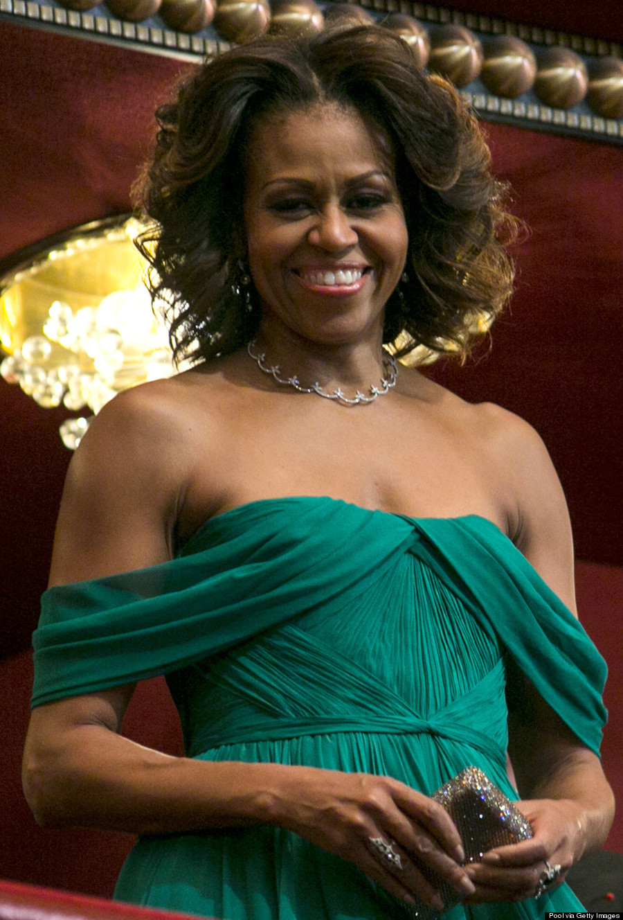 Michelle Obama Dazzles In Green Marchesa Gown At 2013 ...