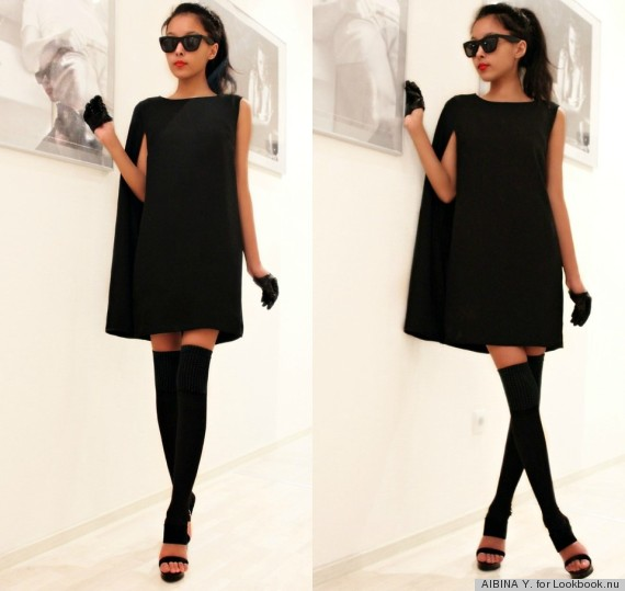 wearing black