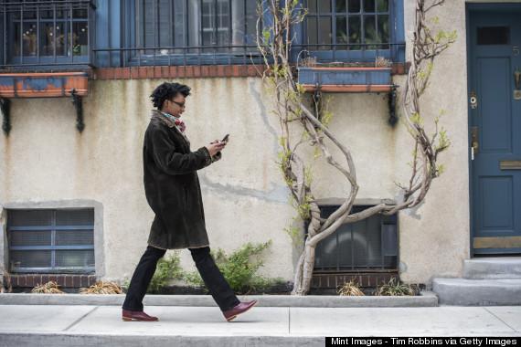 walking texting