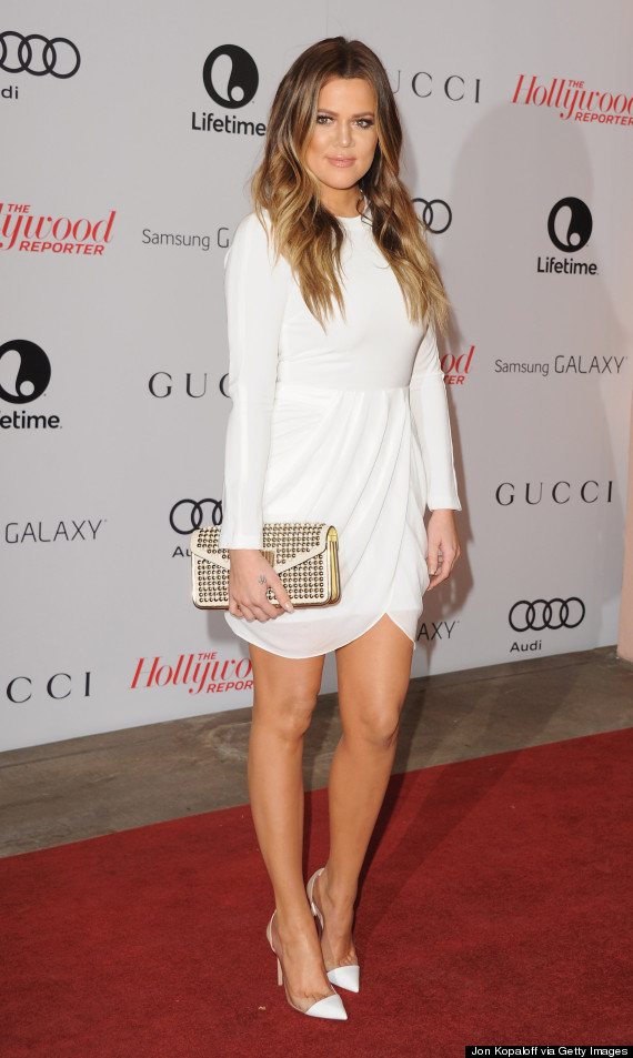 Khloe kardashian wears short white dress to thr 39 s women in for How to dress like khloe kardashian