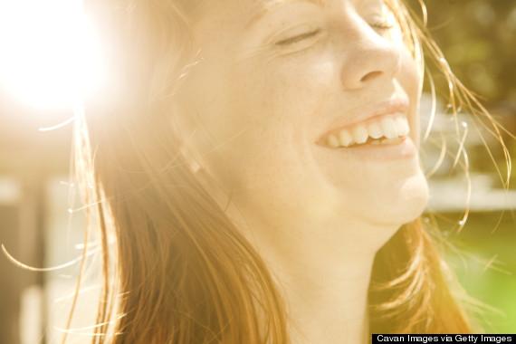 smiling in sun