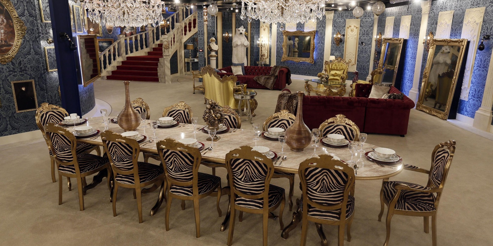 Marvelous photograph of Celebrity Big Brother' 2014 House Pictures Reveal Regal Makeover with #3C4C8F color and 2000x1000 pixels