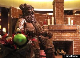 Half-ton Chocolate Santa Displayed At Houston Hotel
