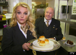 WATCH: Britney Is Hilarious As A British Waitress