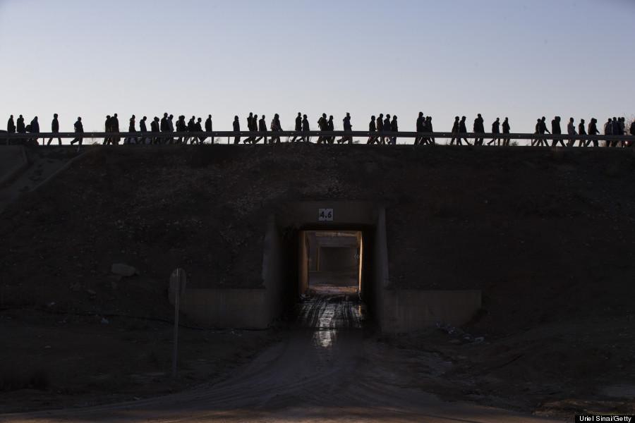 african migrants walk