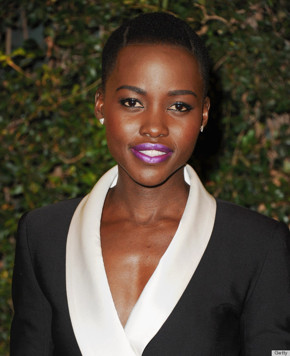 No one can wear lipstick like lupita this electric purple pops