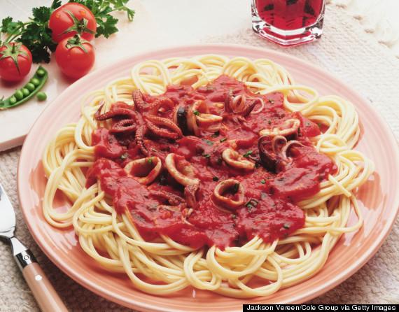 calamari in spaghetti sauce