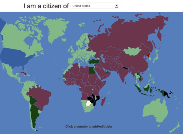 VisaMapper Is A Magical Map Where You Can See Which Countries - Us visa map
