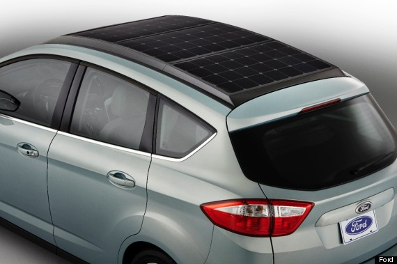 Ford's C-MAX Solar Energi uses roof-mounted solar panels to charge its ...