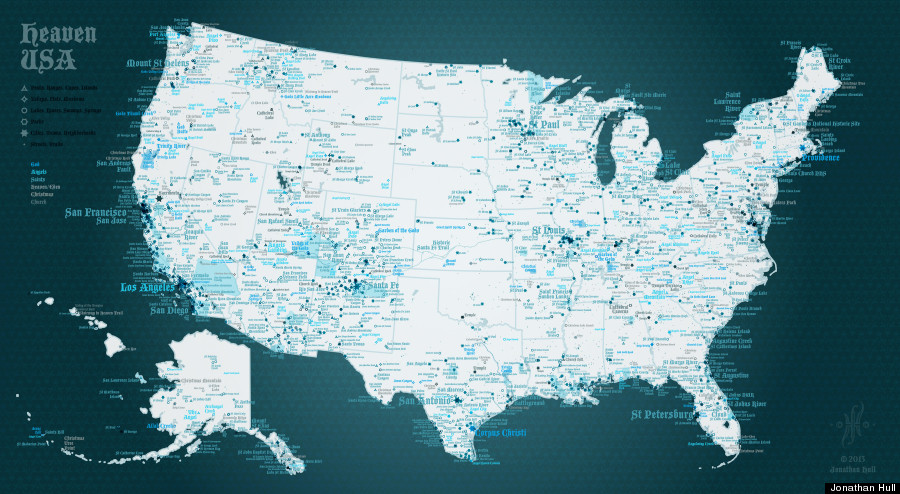 Heaven USA Map Is A Divine Tour Of Americas Angelic Places