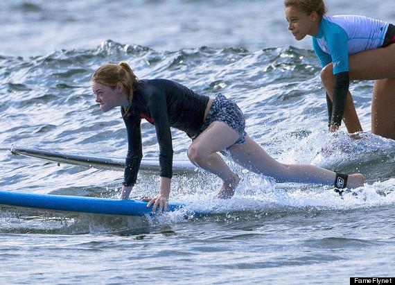 emma stone surfing