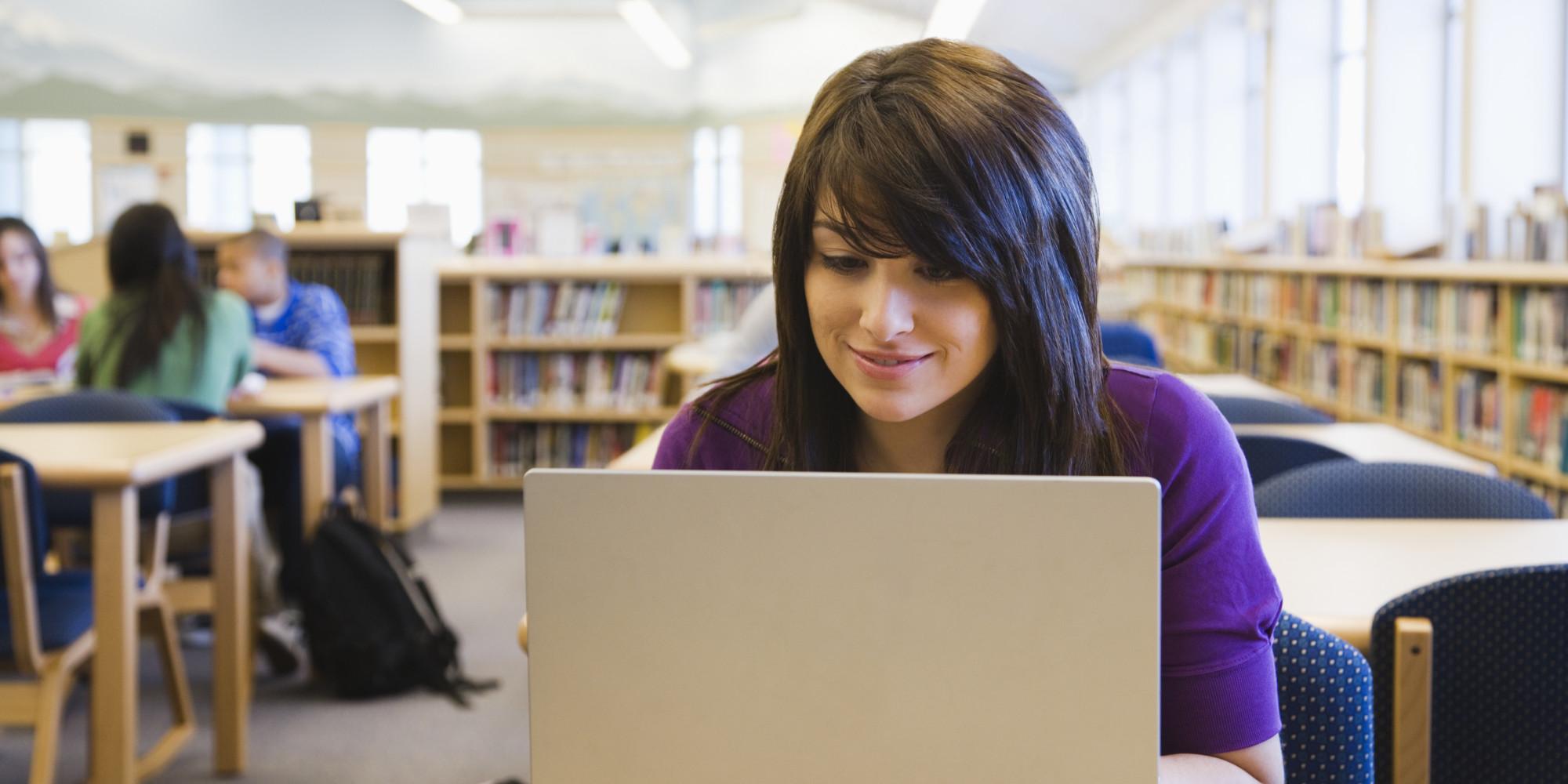 Girl hot teen using computer shes hot