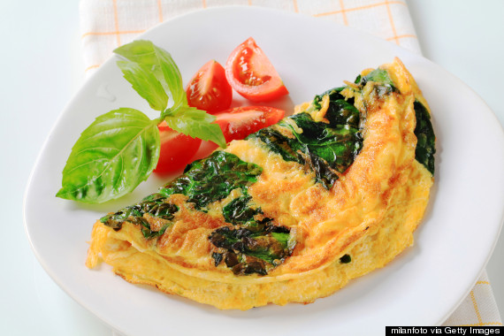 cheese spinach tomato omelette