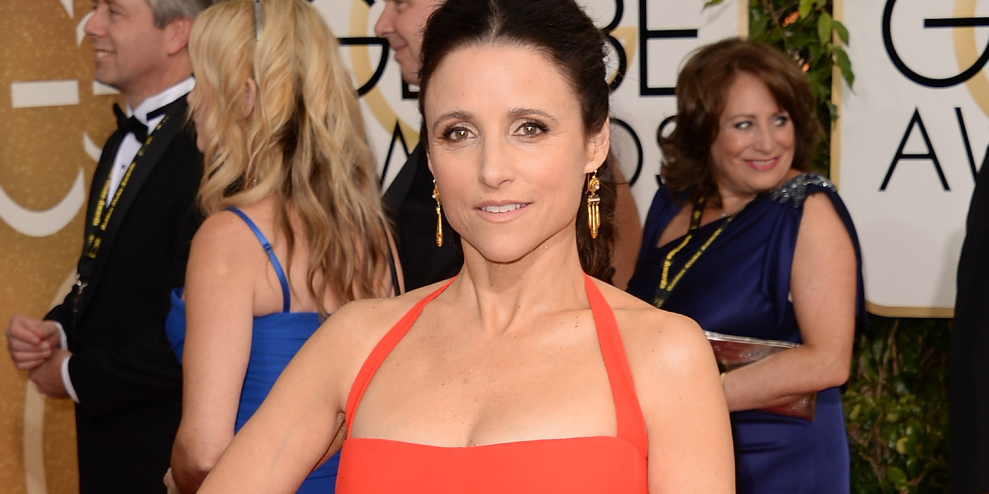 Julia louis dreyfus 39 golden globes dress 2014 serves up for Where did julia louis dreyfus go to college