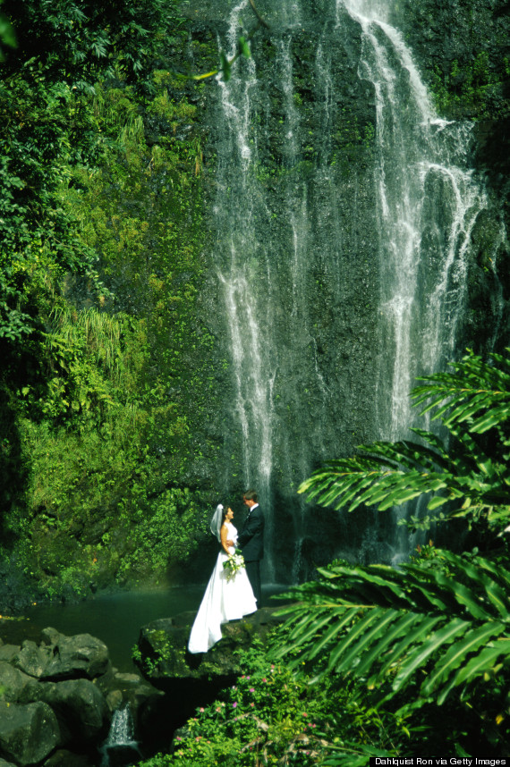 wedding hawaii waterfall