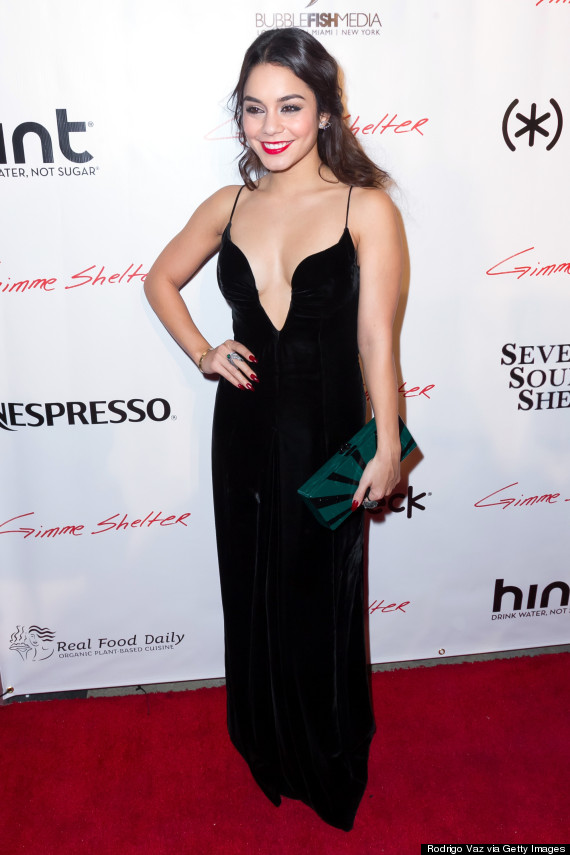 Vanessa Hudgens Shines In Low-Cut Dress At 'Gimme Shelter ...