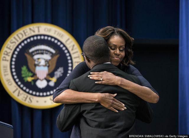 michelle obama hugs