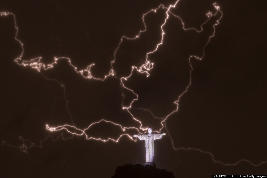 christ statue lightning