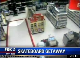 WATCH: Skateboarding Thief Steals TV From Target