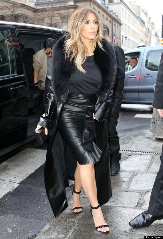 Kim Kardashian Rocks Tight Leather Skirt All Over Paris | The ...