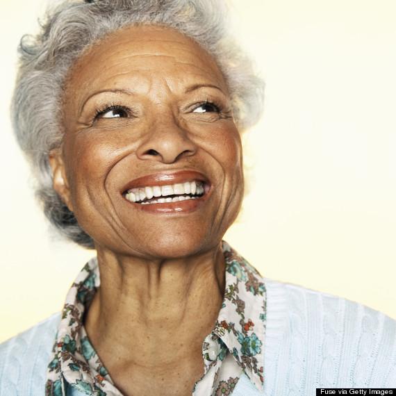older woman happy