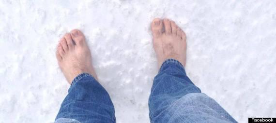 man barefoot year