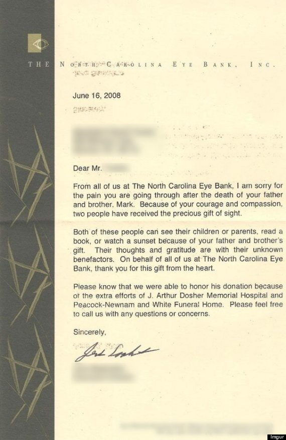 eye donor letter