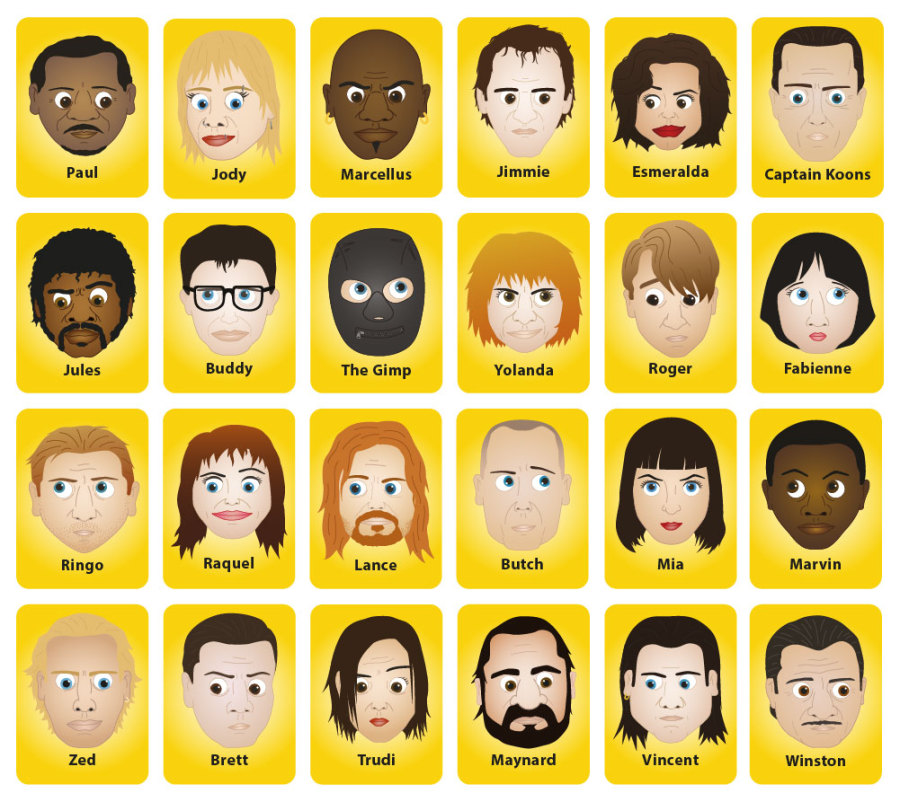 Guess who game characters artist makes a pulp fiction guess who and