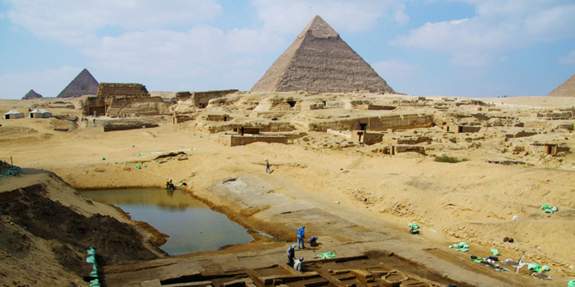 Giza Egypt  City new picture : Ruins Of Bustling Port, Barracks Unearthed Near Giza Pyramids In Egypt