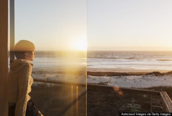 woman ocean peace