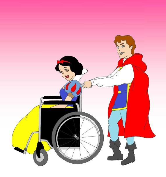 branca de neve cadeira de rodas