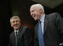 Hagel cool on backing mccain