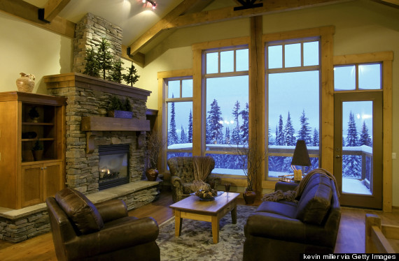ski lodge fireplace