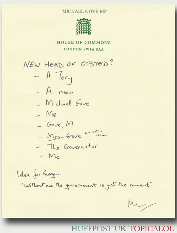 michael gove spoof ofsted letter