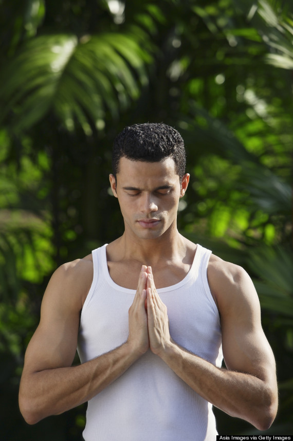 attractive man yoga