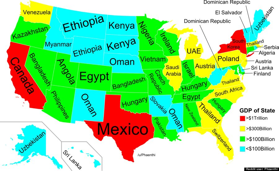Which Countrys Economy Is Your States Equal To HuffPost - Us map 50 states equal population